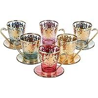 Art Decore Italian Crystal Tea Cups 6 Pieces, Multi Color