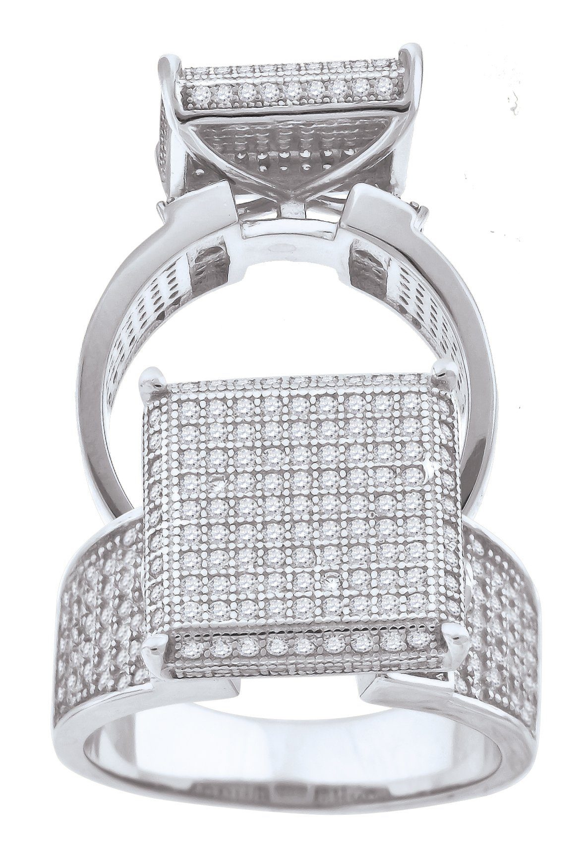 925 Sterling Silver Cubic Zirconia CZ Cluster Size-8 Womens Fashion Ring
