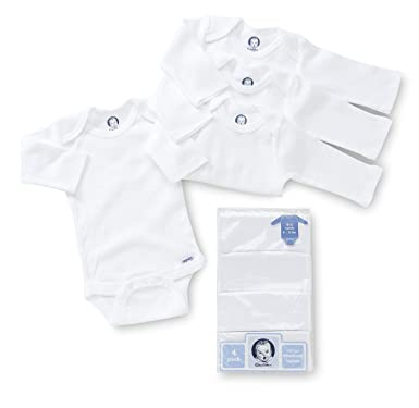 10c245b3e Amazon.com: Gerber Unisex-baby Newborn 4-Pack Long Sleeve Onesies Brand  With Mitten Cuff: Infant And Toddler Bodysuits: Clothing