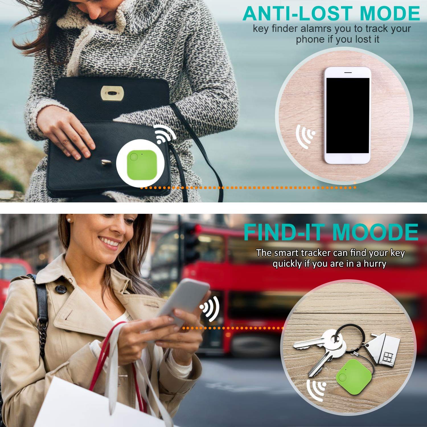 Kimfly Key Finder(4 Pack), Item Finder, Phone Finder, Bluetooth Tracker with Replaceable Battery