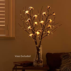 Hairui Lighted Tree Branches 32in 100LED and Cotton Stems 30in 16LED Kit Battery Operated for Party Holiday Christmas Decoration (Vase Excluded)