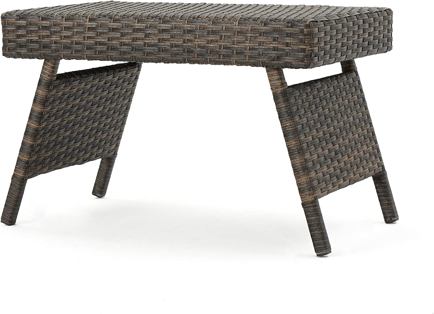 Christopher Knight Home Thira Outdoor Wicker End Table with Aluminum Frame, Mix Mocha