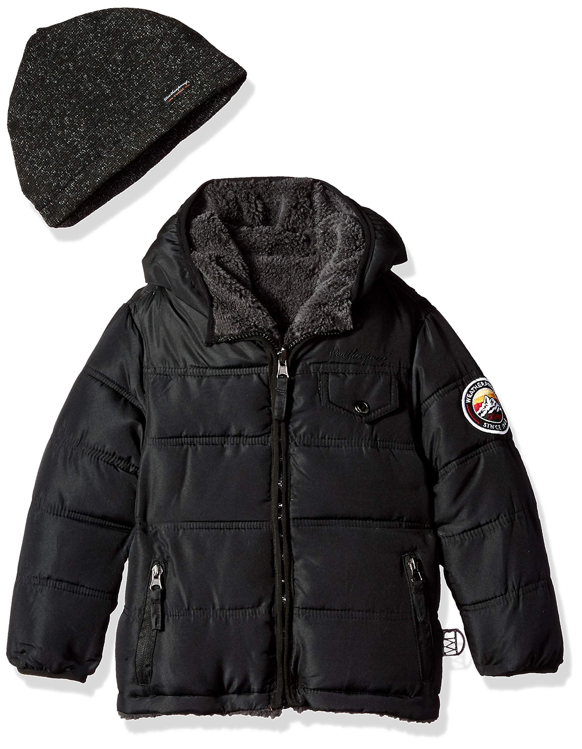Weatherproof Boys' Little Reversible to Sherpa Fleece Jacket, Black, 4