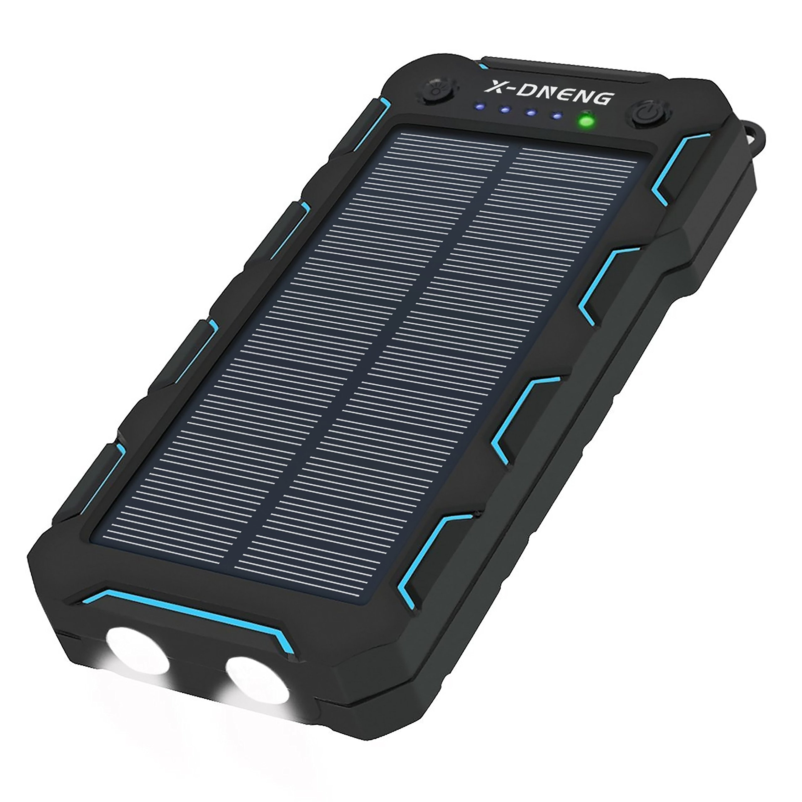 Solar Charger 15000 mAh, Portable Solar Panel Phone Charger Solar Power Bank with Dual USB, LED Flashlight, IP65 Waterproof, Shockproof and Dustproof, for Cell Phone, iPhone, Samsung Galaxy, iPad, GoPro Camera, GPS , Bluetooth Speaker, Blue