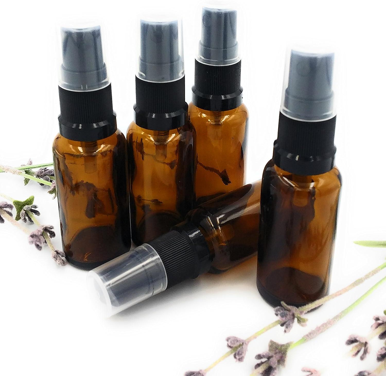 Botella de aromaterapia de vidrio ámbar de 20 ml (PAQUETE DE 5) con tapón atomizador Black Atomiser. Botella de aromaterapia vacía de alta calidad, perfecta para aceites esenciales, aceites de perfume