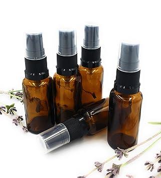 5 x 20ml Braunglas Flasche mit schwarzem Atomiseur/Sprüh Top Ideale Kissen Sprühflasche! Gebrauchen mit Ätherischen Ölen, Aro