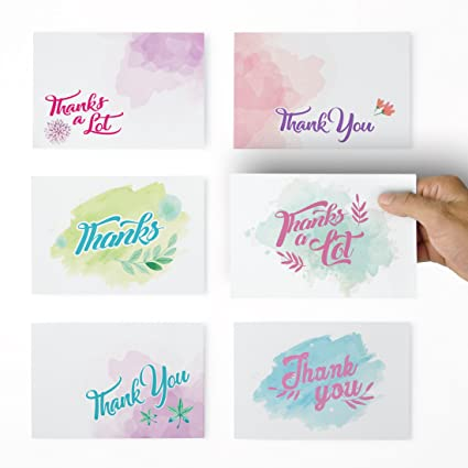Amazon Com Thank You Cards 36 Water Colors Thank You Notes For