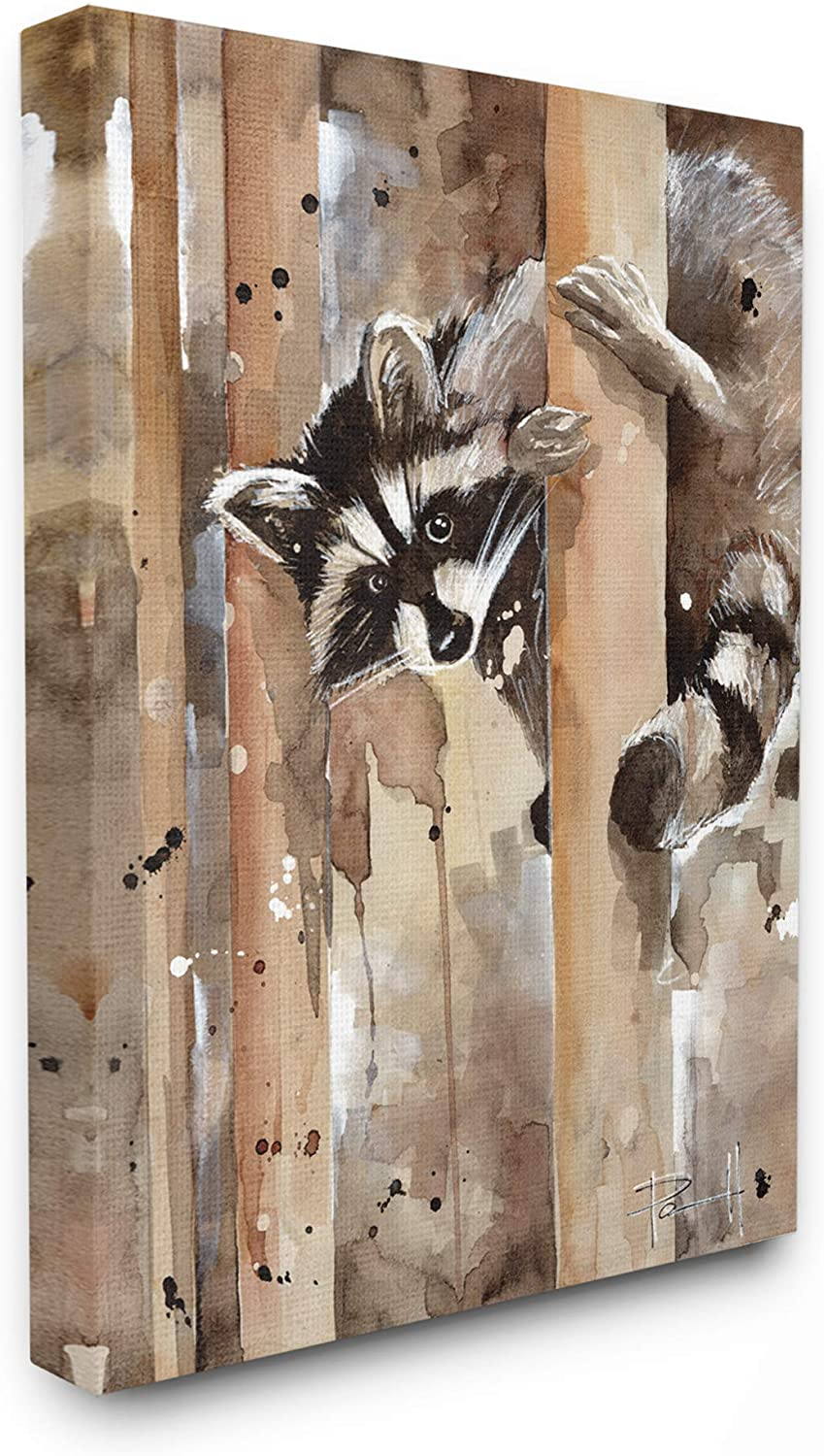 Stupell Industries Raccoon in The Forest Watercolor Animal Painting Canvas Wall Art, 16 x 20, Design by Artist Sean Parnell