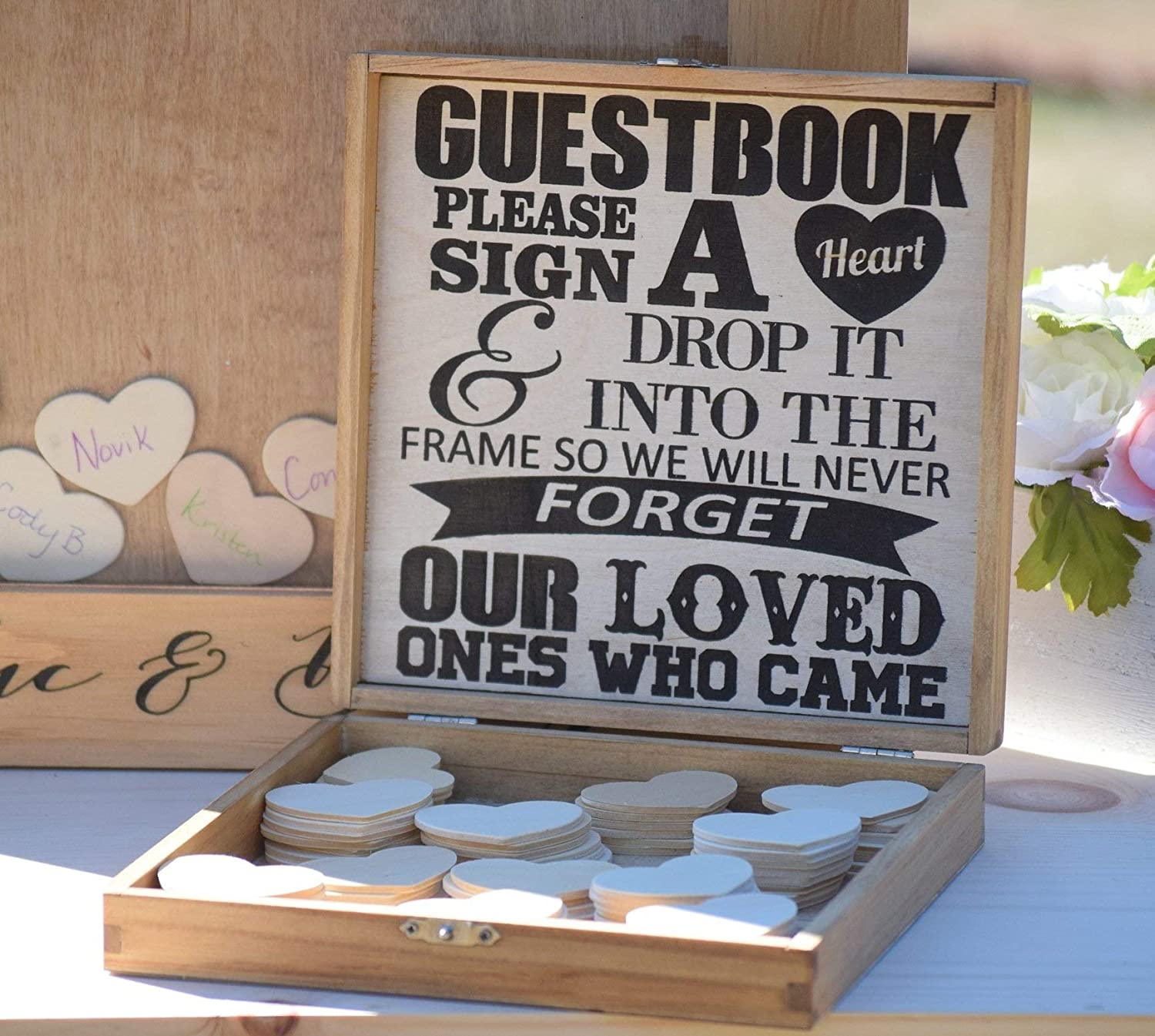 Heart Holder Box for Guest Book - Heart Drop Guest Book Alternative Box - Heart Box - Wedding Box - Wedding Card Holder - Rustic Weddings
