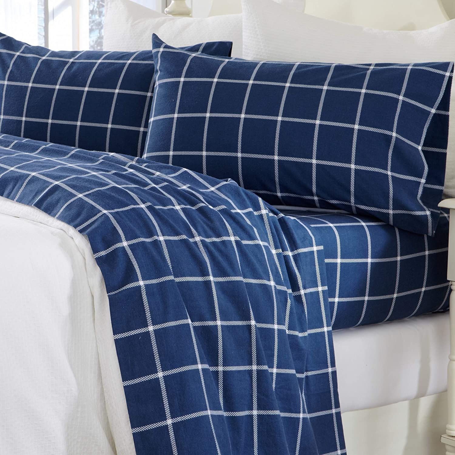 Great Bay Home 4 Piece Extra Soft Windowpane 100% Turkish Cotton Flannel Sheet Set. Heavyweight, Warm, Cozy, Luxury Winter Deep Pocket Bed Sheets. Belle Collection (Queen, Navy/White)