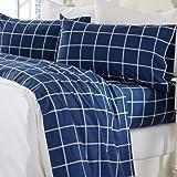 Great Bay Home 超柔软 * 土耳其棉法兰绒床单套装。 温暖、舒适、轻便、奢华的冬季床单。 Belle 系列 Windowpane - Navy/White King