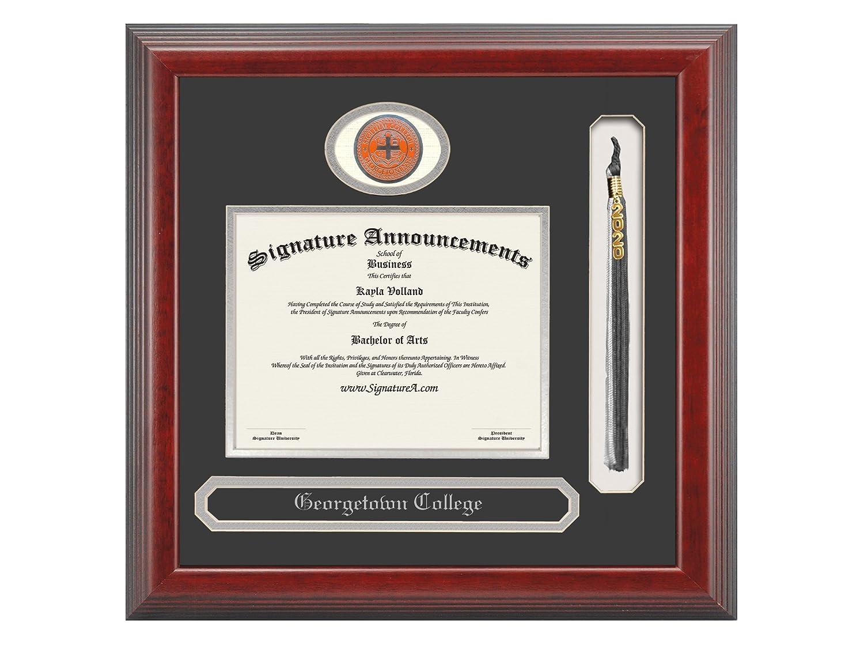 Sculpted Foil Seal Signature Announcements Georgetown-College Undergraduate Name /& Tassel Graduation Diploma Frame 20 x 20 Cherry