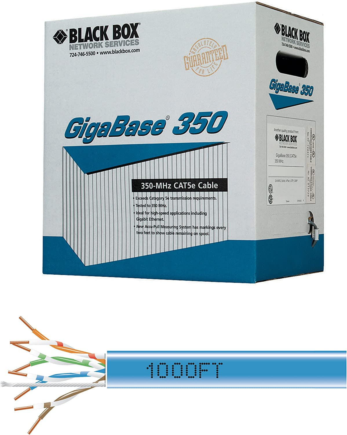 Black Box GigaBase CAT5e Ethernet LAN Network Patch Cable 30/' Made in USA