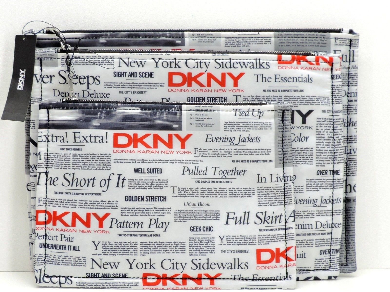DKNY Black White Red Newspaper Printed 3-Piece Clutch Bag Set Cosmetic Makeup