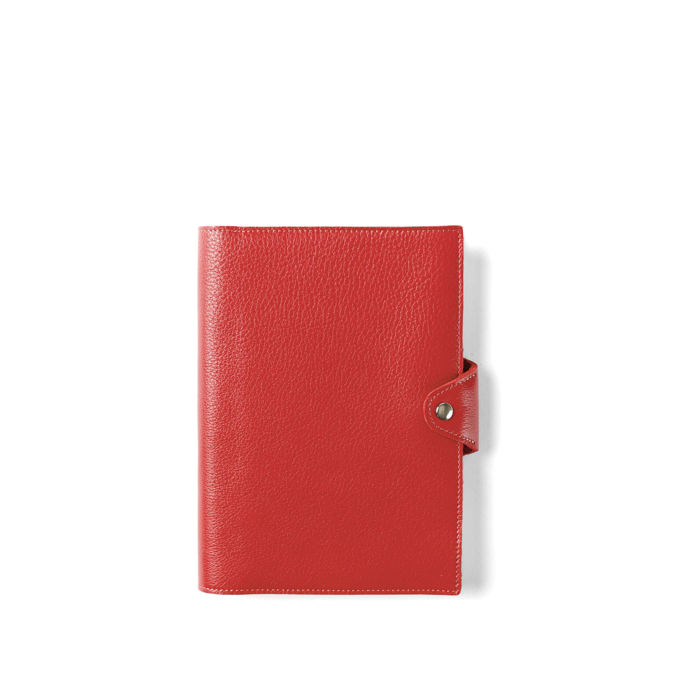 Spiral Snap Journal with Pen Loop - Full Grain Leather Leather - Scarlet (Red)