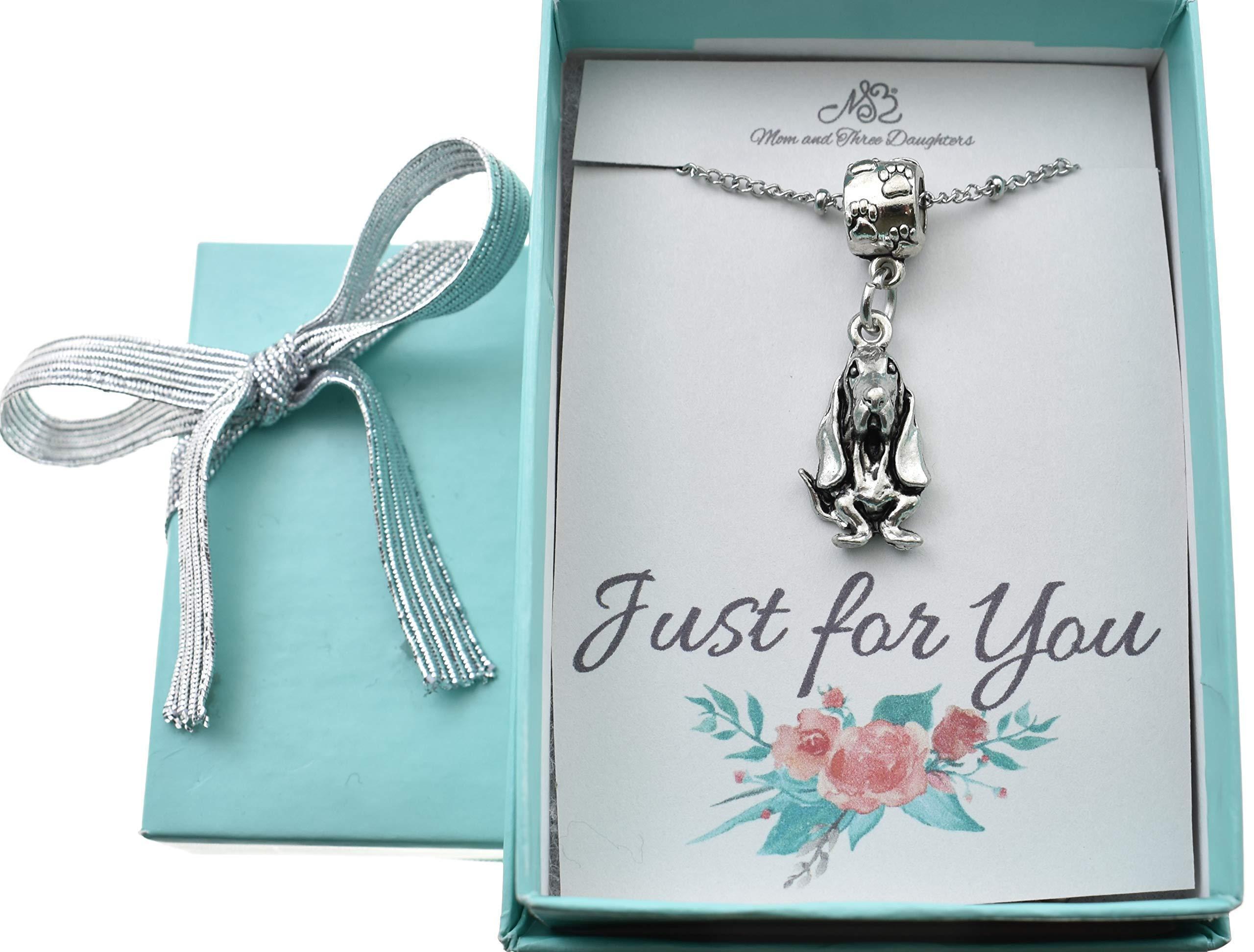 "Basset Hound in silver pewter Charm Necklace on a 22"" stainless steel saturn chain. Basset hound charm. Basset hound necklace. Basset hound jewelry. Basset Hound. 1"