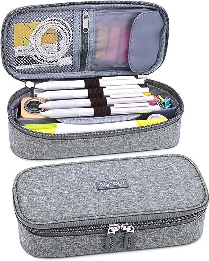 AiscoolAZB - Estuche para lápices de gran capacidad, gran capacidad para guardar bolígrafos, estuche, organizador de artículos de papelería con cremallera para la escuela y suministros de oficina: Amazon.es: Oficina y papelería