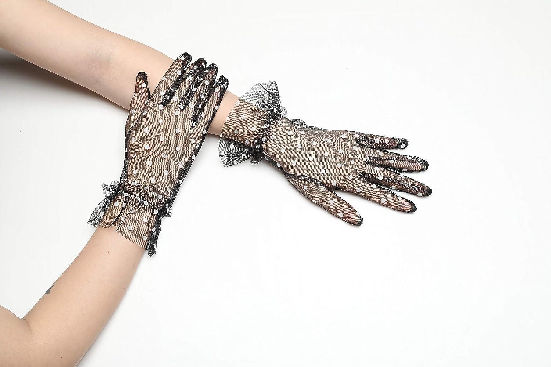 lunghi da sposa trasparenti Guanti da donna a pois corti guanti da sposa Coucoland in tessuto a rete per feste