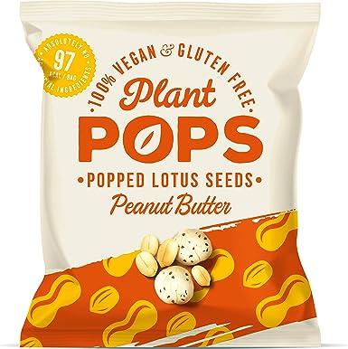 Plant Pops | Palomitas de semillas de loto con mantequilla de cacahuete 100% veganas, sin gluten y bajas en calorías. Proteína saludable, natural, ...