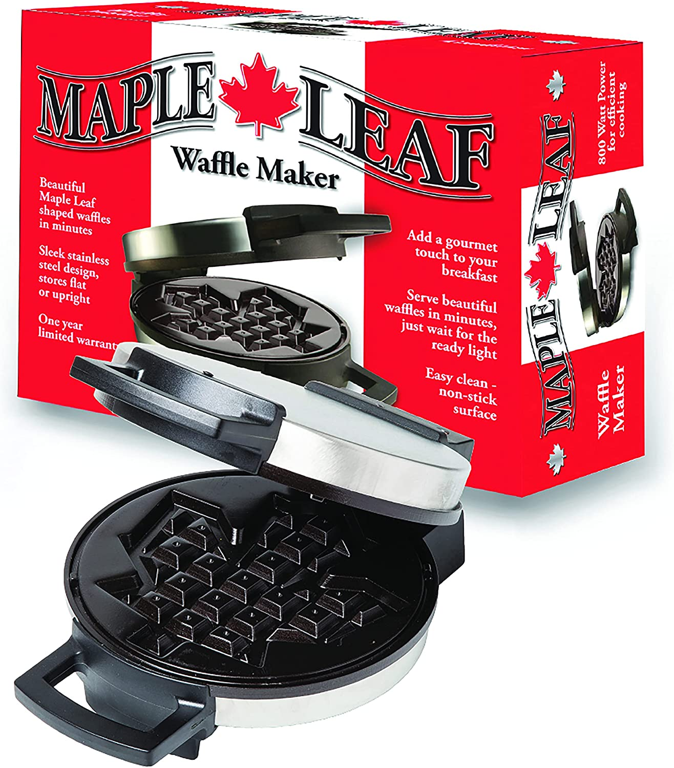 Canadian Maple Leaf Shaped Belgian Waffle Maker High Quality Non Stick Waffle Iron Works Perfectly For Chaffles Gluten Free Or Paleo Pancake And Waffle Mix Kitchen Dining