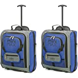 MiniMAX Childrens/Kids Luggage Carry On Trolley Suitcase with Backpack and Pouch for your Favourite Doll/Action Figure/Bear (2 x Blue)