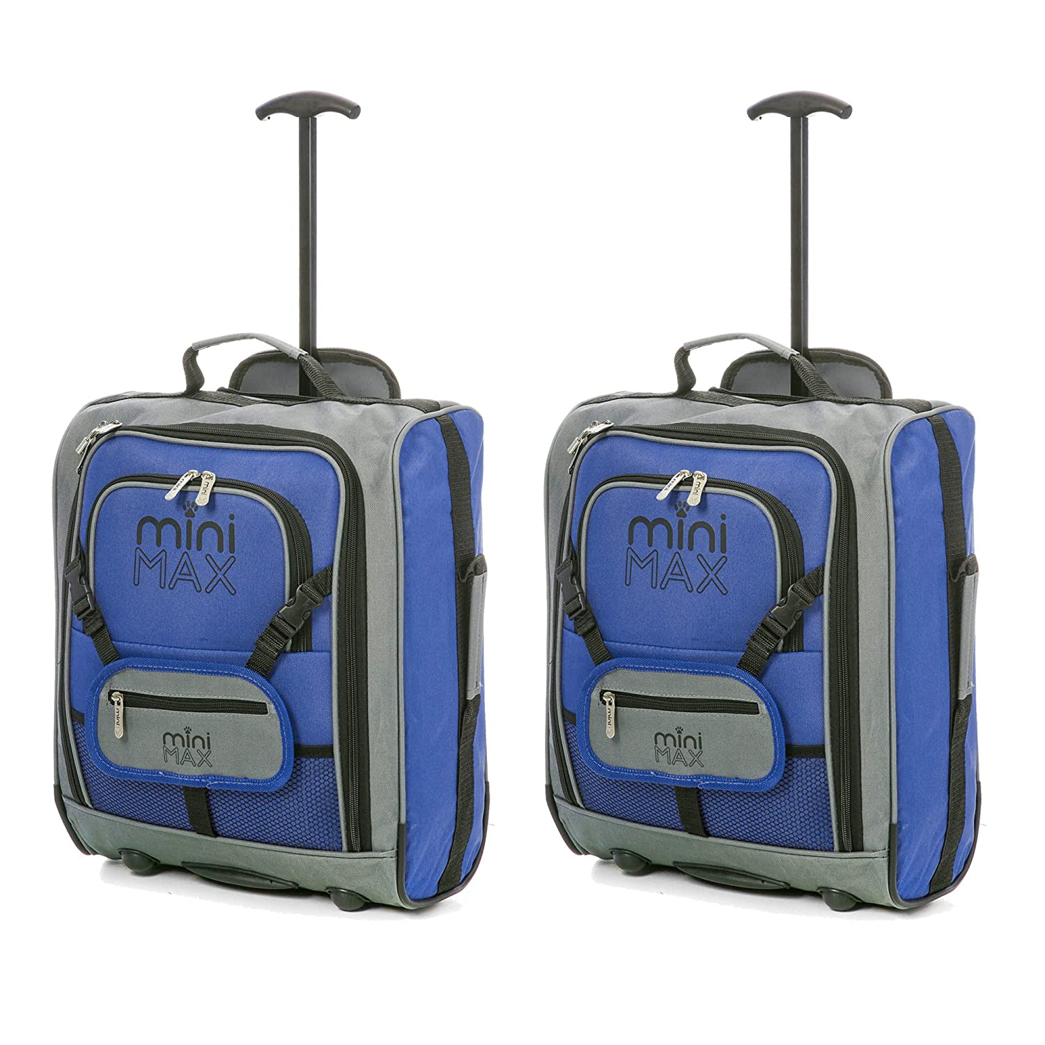 133fe28e6b83 MiniMAX Childrens Kids Luggage Carry On Trolley Suitcase with Backpack and  Pouch for your Favourite Doll Action Figure Bear (2 x Blue)  Amazon.co.uk   ...