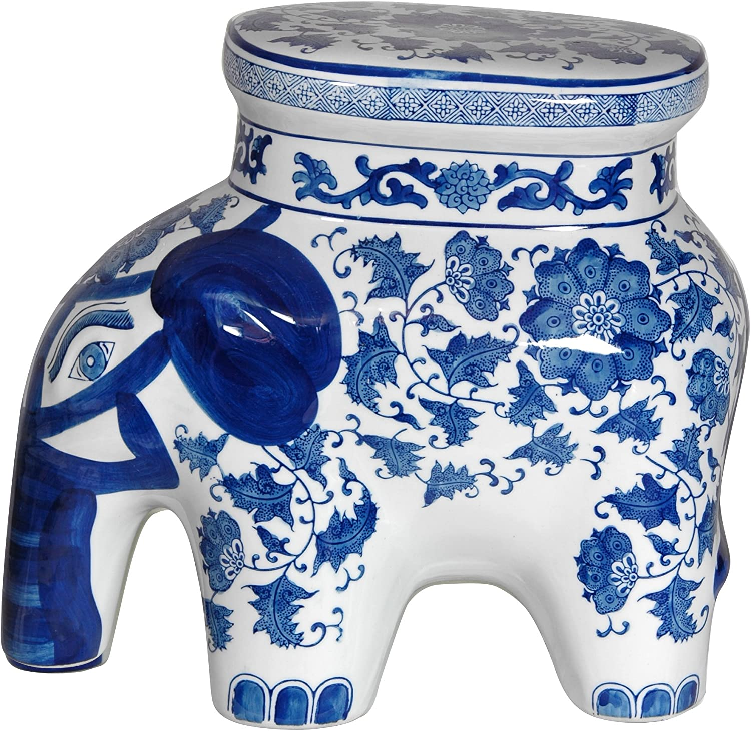 "Oriental Furniture 14"" Floral Blue & White Porcelain Elephant Stool"