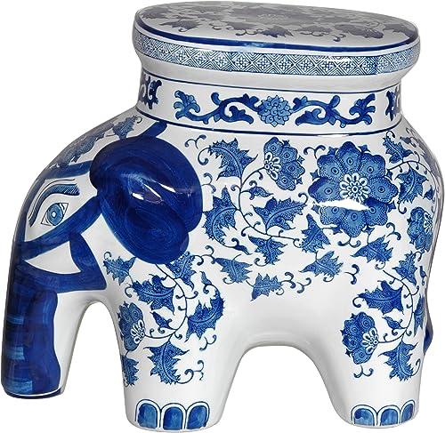 Oriental Furniture 14 Floral Blue White Porcelain Elephant Stool