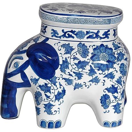Oriental Furniture 14\u0026quot; Floral Blue \u0026 White Porcelain Elephant Stool  sc 1 st  Amazon.com & Amazon.com: Oriental Furniture 14\