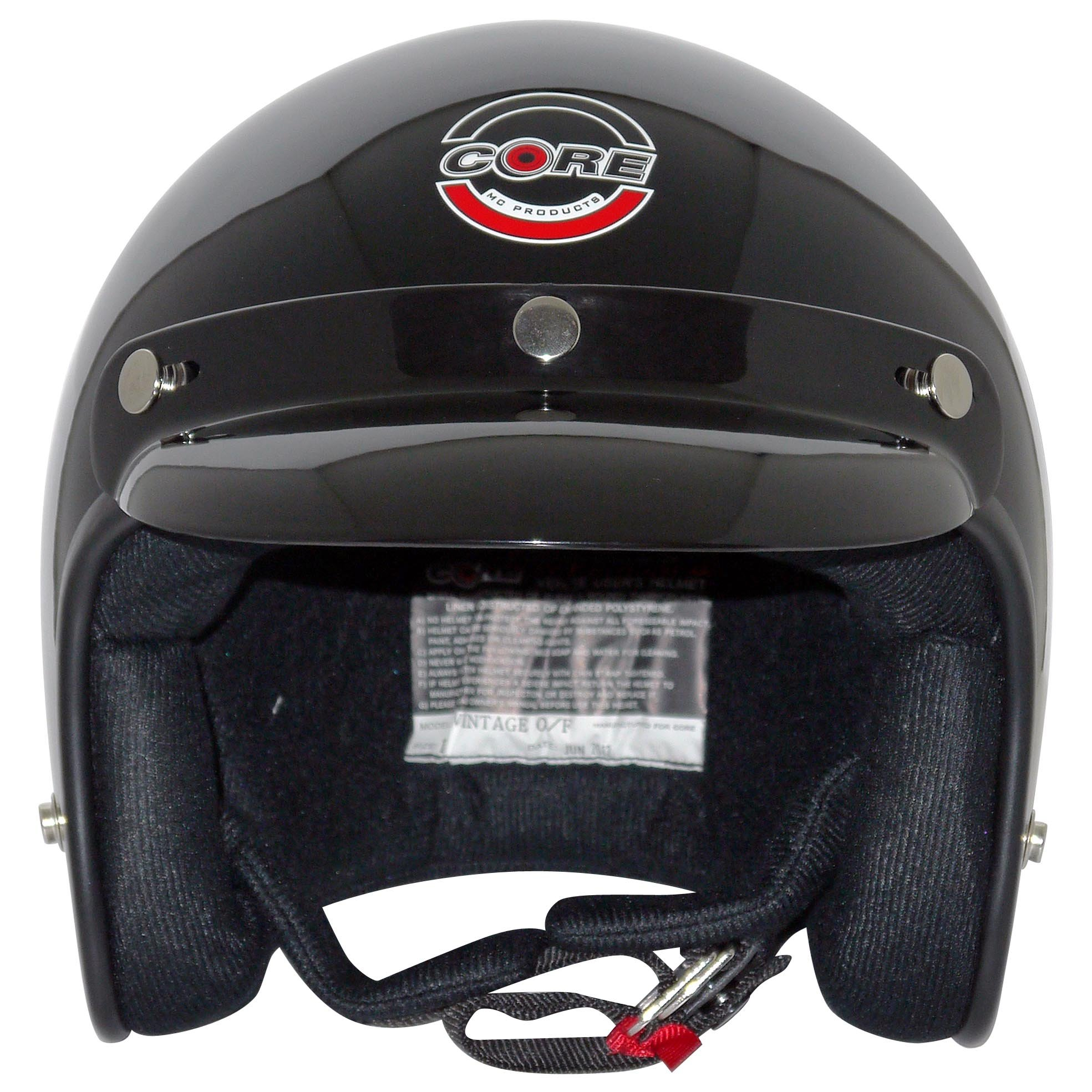 Core Vintage Open Face Helmet (Gloss Black, X-Small) by Core (Image #2)