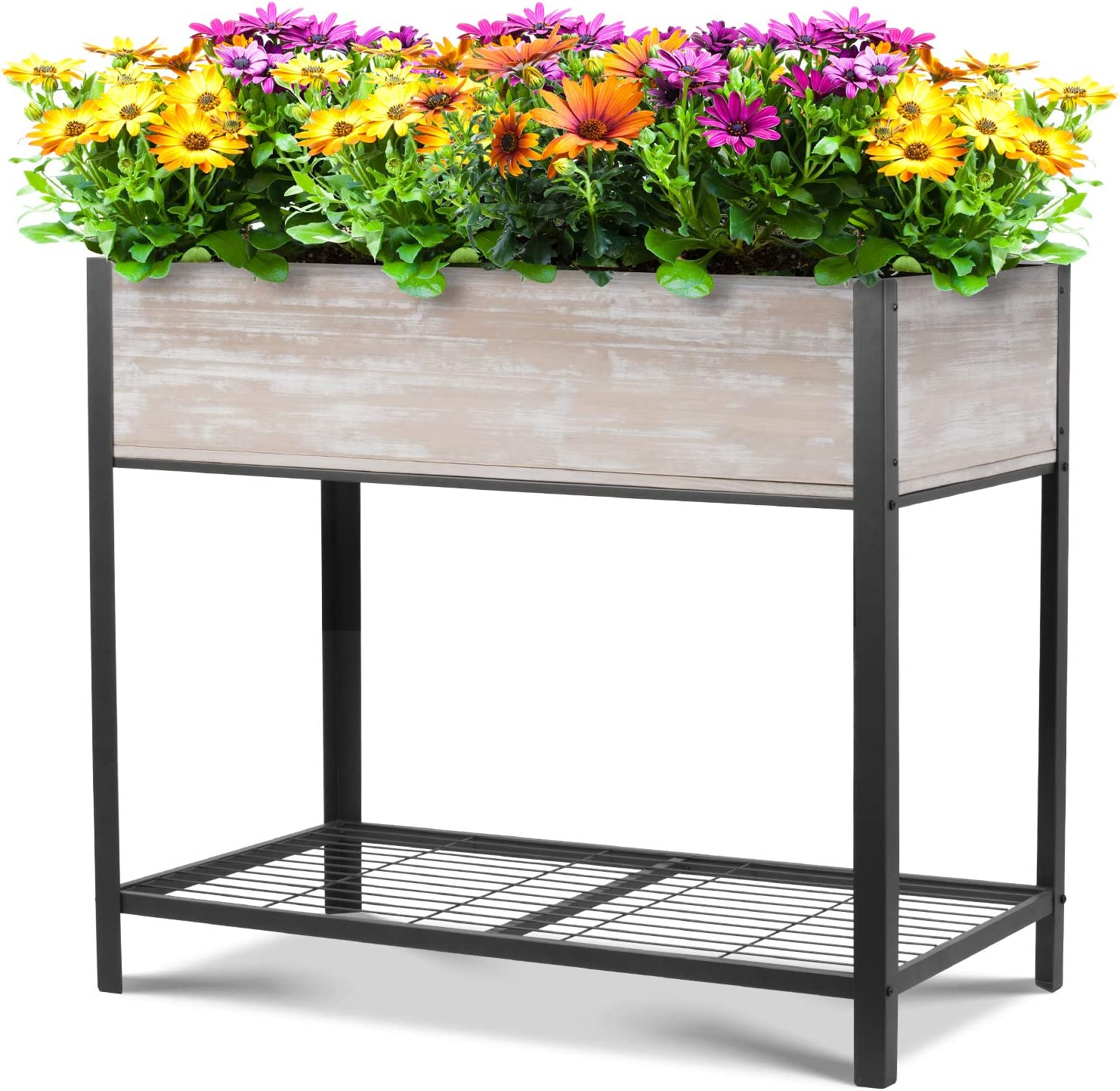 Wooden Raised Garden Bed Elevated Wood Planter for Growing Fresh Herbs, Vegetables, Flowers, Succulents and Other Plants, Indoor Outdoor 37.8 x 21.6 x 35.6in