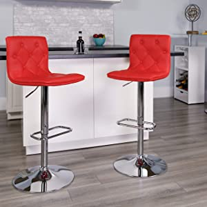 Flash Furniture 2 Pk. Contemporary Button Tufted Red Vinyl Adjustable Height Barstool with Chrome Base