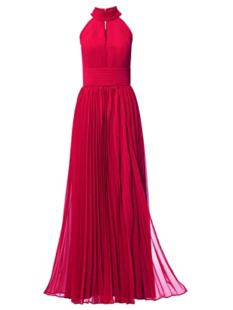 Kleid Abendkleid festlich lang Plissee Ballkleid Ashley Brooke rot ...