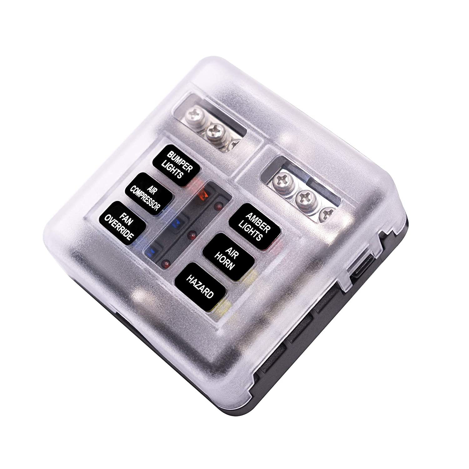 6 Ways Fuse Box Holder with Clear Cover for Auto Car Boat Marine Trike EZITOWN ELECTRICAL FACTORY