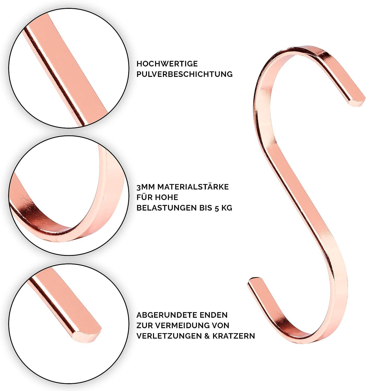 PAMO S Haken Rose Kupfer aus Metall 5, Rosegold K/üchenhaken aus Edelstahl zum Aufh/ängen von Pfannen in der K/üche oder Kleidung an der Kleiderstange S-Haken Stahl rostfrei 5er Set