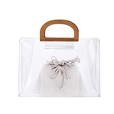 Hoho Clear Pvc Handbag Organizer For Womenwomansgirls Ladies Tote Large Purse With Wooden Handletransparent Summer Beach Style