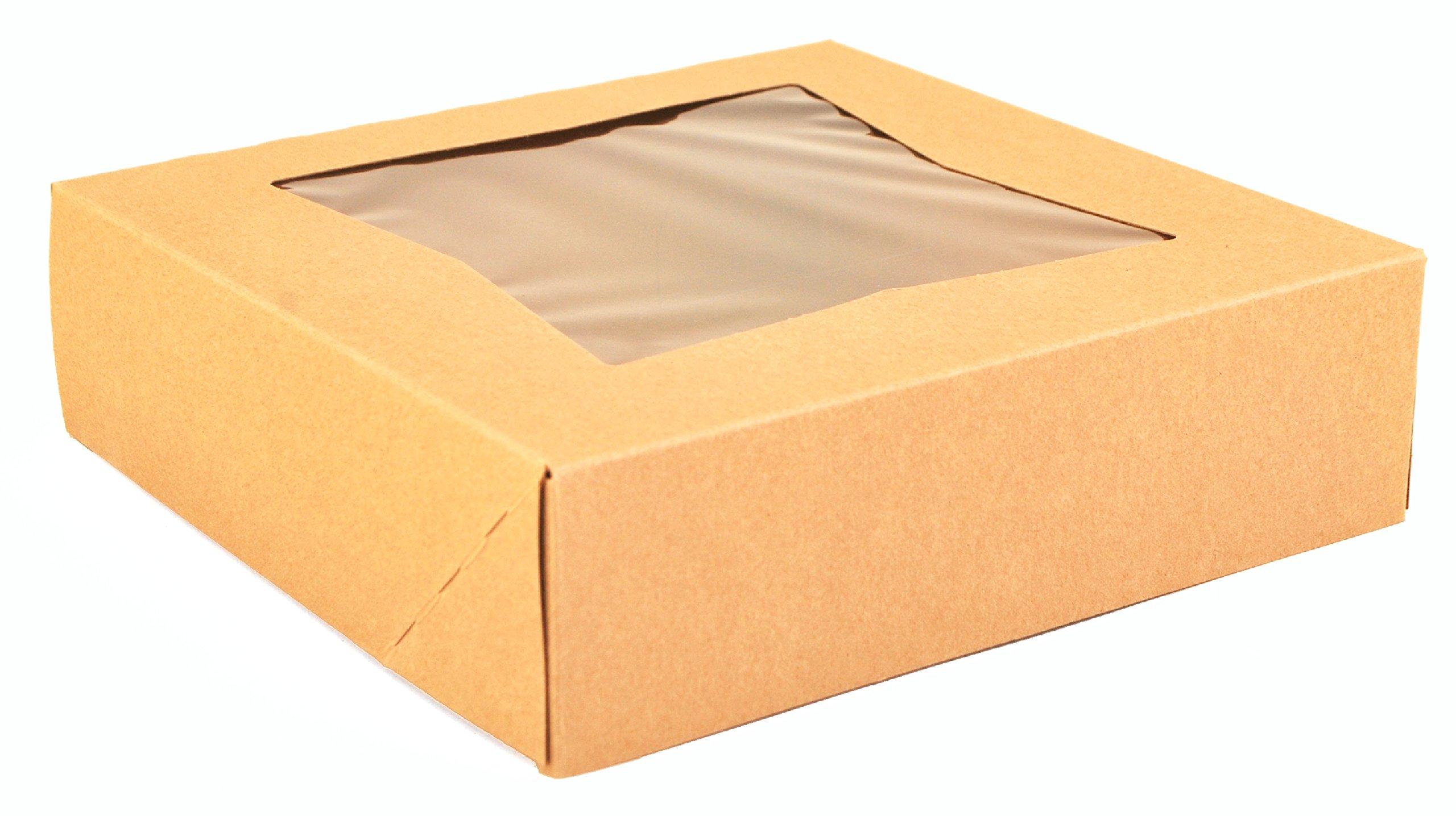 Southern Champion Tray 24133K Kraft Paperboard Window Bakery Box, 9'' Length x 9'' Width x 2-1/2'' Height (Case of 200)