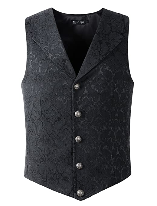 Men's Steampunk Clothing, Costumes, Fashion DarcChic Mens Lapel Vest Waistcoat Gothic Steampunk Victorian $38.80 AT vintagedancer.com
