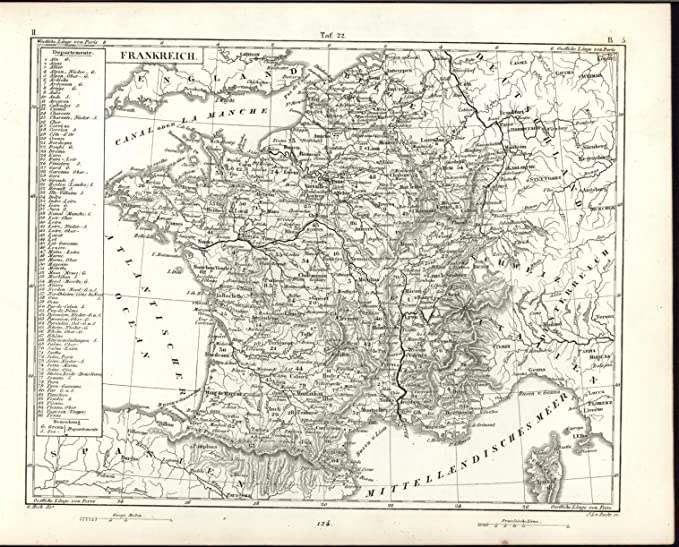 Map Of France Gascony.France Corsica Brittany Rhone River Gascony Normandy C 1851 Antique