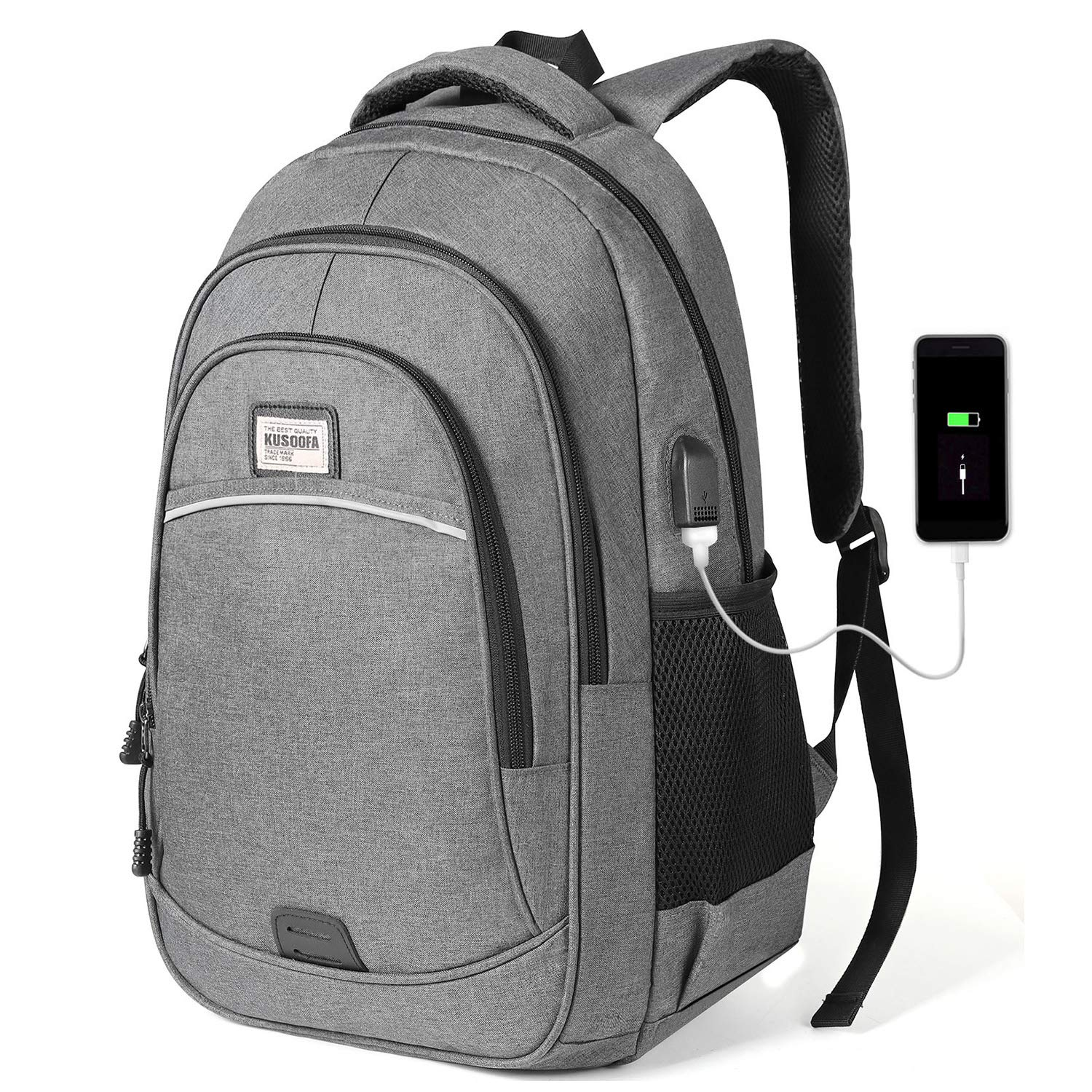 Business Backpack with USB Charging Port Backpacks for Work University Office College Bookbag Fits 15.6 Inch Laptop and Notebook Black KUSOOFA Backpack Laptop