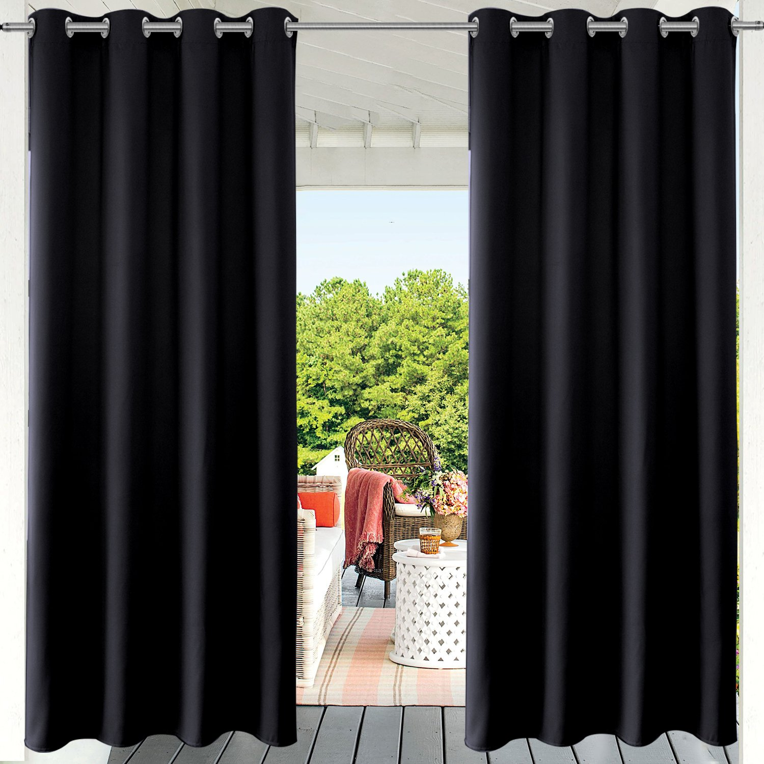 PRAVIVE Blackout Outdoor Curtain Drapes - Indoor/Outdoor Grommet Patio Blinds Waterproof Solid Cabana/Canvas Window Curtain Panels, Black, 52'' Width by 95'' Length, 1 Piece