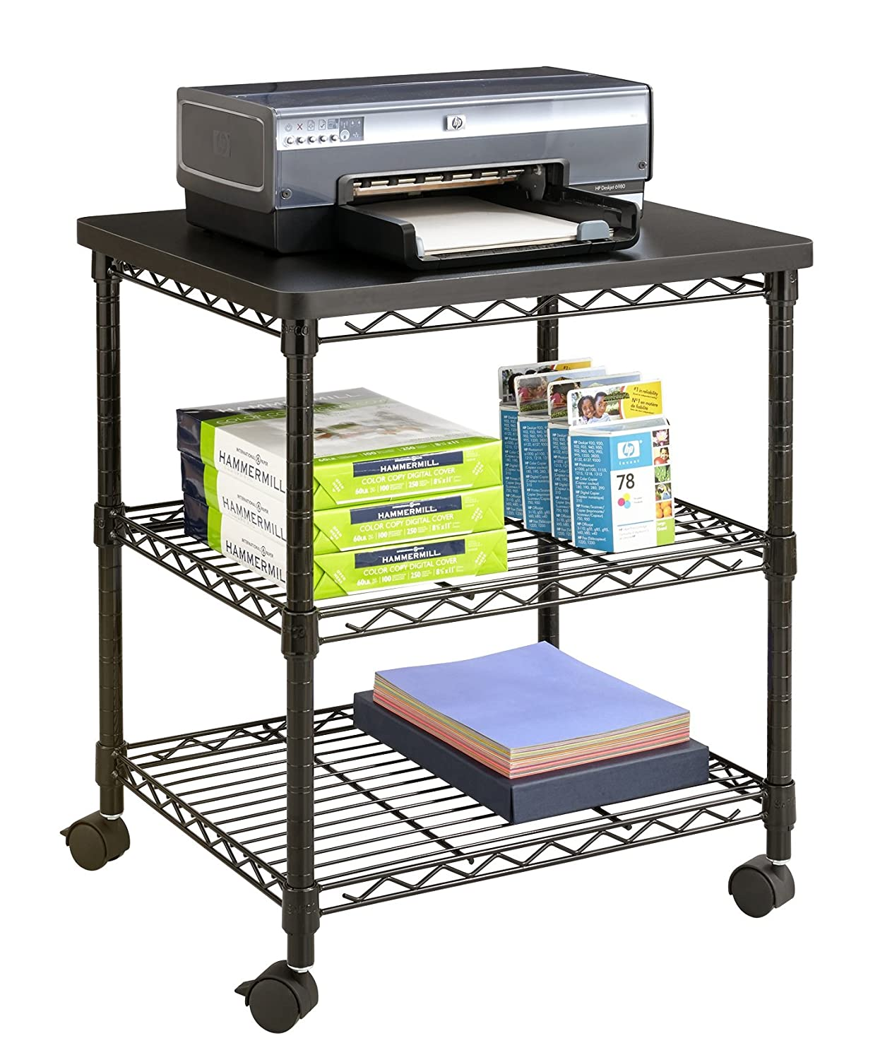 Amazon.com: Safco Products 5207BL Desk Side Wire Machine Stand ...