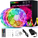 Tenmiro 65.6ft Led Strip Lights, Flexible Color Changing LED Light Strips Kit with 44 Keys Ir Remote Led Lights for…