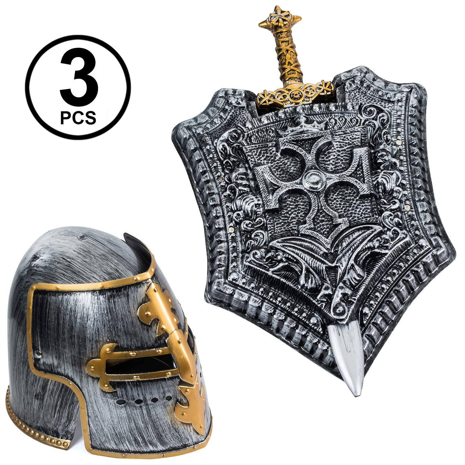 Tigerdoe Gladiator Costume - Helmet, Shield, Sword - Roman Armor - Knight - 3 Pc Set - Costumes for Men by Tigerdoe (Image #1)