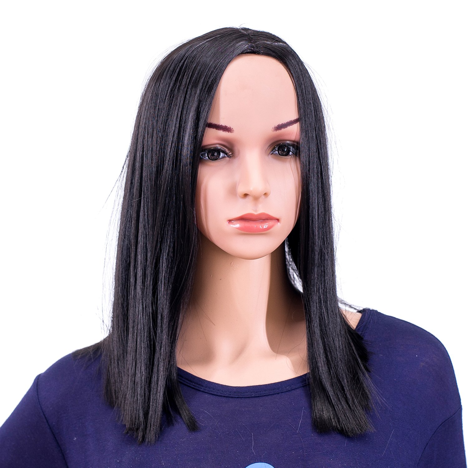 SWACC 14-Inch Short Straight Middle Part Hair Wig Medium Length Synthetic Heat Resistant Wigs for Women with Wig Cap (Black-1B)