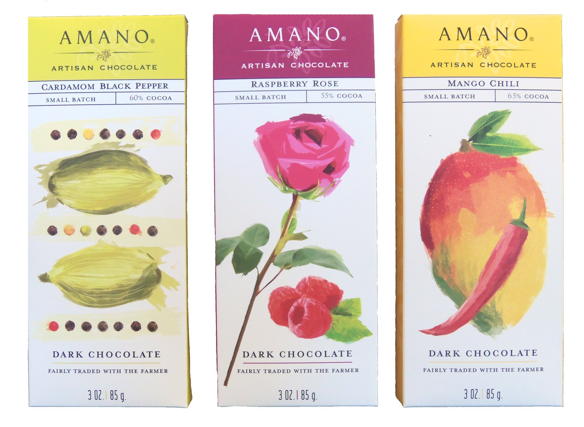 Amano Artisan Flavored Dark Chocolate Bar Variety Trio - Cardamom Black Pepper, Raspberry Rose, & Mango Chili - 3 Bars, 3 Ounces Per Bar - International Chocolate Awards Winners! by Amano