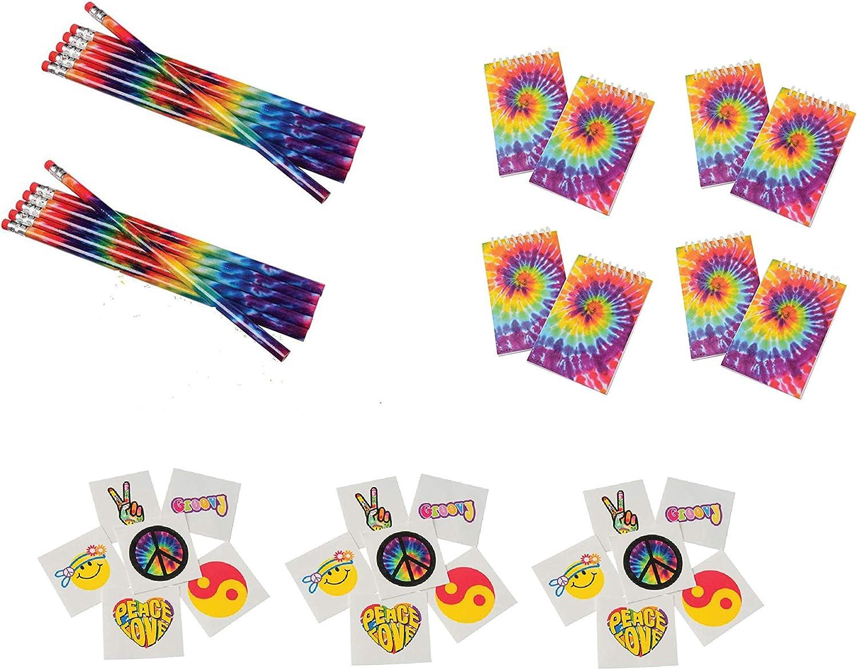 172 Piece Retro, Tie Dye, Peace, Love, 60's, Hippie Party Favors ~ 12 Tie-Dye Pencils, 16 MINI Tie-Dye Notebooks & 144 Retro Tattoos ~ Teacher Student Classroom Giveaways