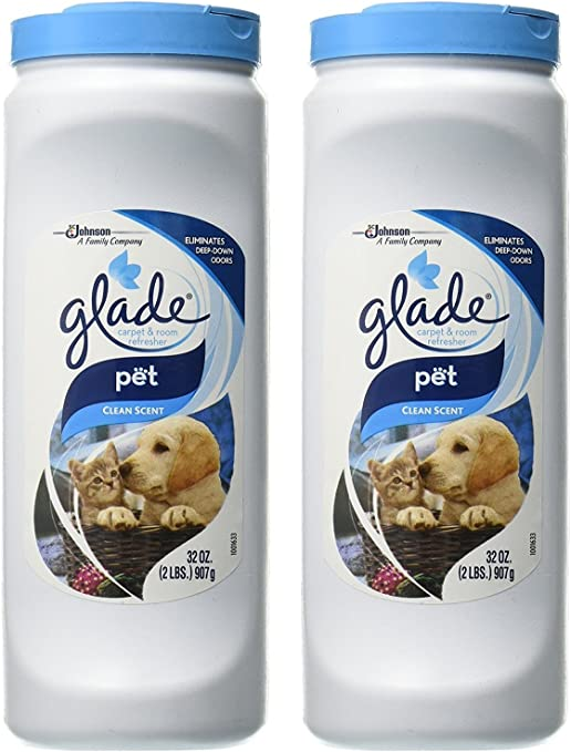 Amazon Com Glade Carpet Room Refresher Pet Clean Scent Eliminates Deep Down Odors Net Wt 32 Oz 907 G Per Container Pack Of 2 Containers Home Kitchen