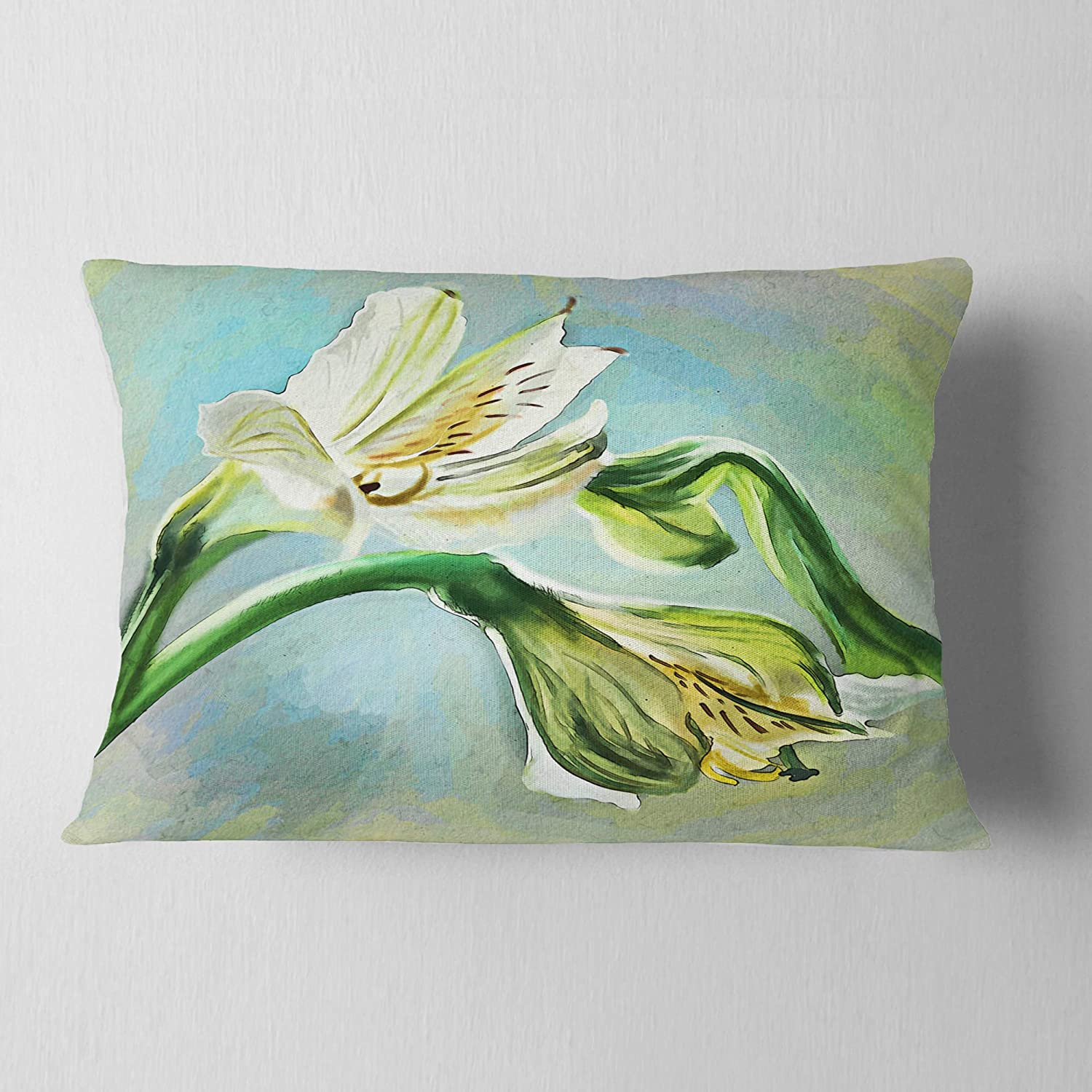 Sofa Throw Pillow 12 In In Designart Cu13490 12 20 White Lily Flower Sketch Watercolor Floral Lumbar Cushion Cover For Living Room X 20 In Home Kitchen Bedding