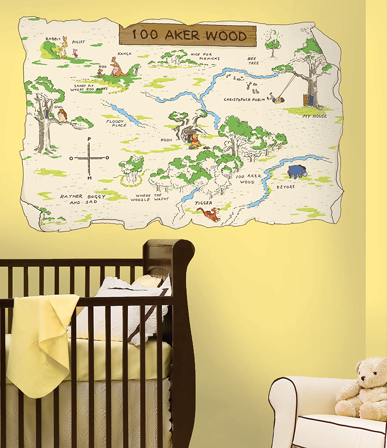 Amazon.com: Roommates Rmk1502Slm Pooh And Friends 100 Aker Wood Map ...